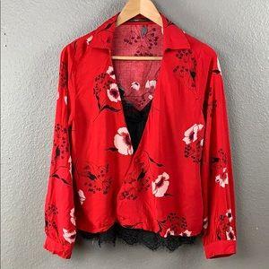 Hazel red floral long sleeve peasant blouse